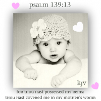 Psalm 139:13 For thou hast possessed my reins: thou hast covered me in my mother's womb.